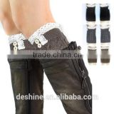 Popular Christmas new knee-high with button lace leg warmers wholesale ST001