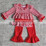 2016 new design kids winter stripes ruffle christmas clothes from yiwu market