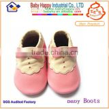 Nice Design Fashion Wholesale Pink Bowknot Pattern Breathable Baby Genuine Leather Shoes