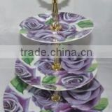 New flower design ceramic 3 layer cake stand plate with gold plated stainless steel handle