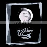 Glencairn Optic Crystal Corporate glass business Clock Award Gift/office gift set for desktop gift