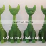 green transparent 6 inch resin cat sculpture,long neck resin cat for home decor,professional resin sculpture factory