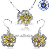 New Arrival Petals Modeling Jewelry Sets, 925 Sterling Silver Natural Citrine Jewelry Sets