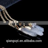 Wholesale natural gemstone point pendant popular clear crystal quartz pendant necklace for women men
