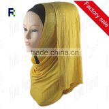 Wholesale Charming New Fashion Jersey Paillette Scarf Hijab WithThree Rows Rhinestones Shawls For Women