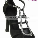 Black satin Rhinestone/Crystal & Elite high heel ladies latin salsa Shoes by Suphini Dance Shoes