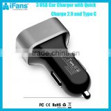 48w mini emergency mobile phone car charger qc 3.0 quick car charger, qualcomm charge 3.0 super fast mobile phone car charger