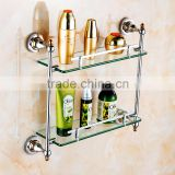 80900 bathroom shelf towels for bathroom Double glass shelf hotel use toilet accessories