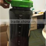large capacity leak proof black plastic drinking water bottle with straw and straw cover