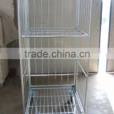 Welded structure stackable roll container with roof