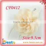 CF0412 Factory high quality ladies ivory chiffon fashion sandal accessories with clips