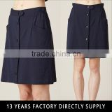 2016 beautiful women black office fashion mini skirts designs with front uadruple-breasted
