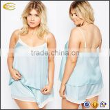 Wholesale Lightweight v neck Cami pajama top hot fashion women Satin Cami and Short Set with Contrast chiffon trim for women
