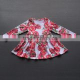 2017 New Fashion Little Girls Long Sleeved Flower Printed Skirt Boutique Toddlers Party Wear Autumn Dresses