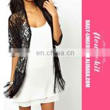 Newest fashion sexy tops for women Hollow-Out See-Through Tassel Hem Batwing Sleeve Lace Jacket