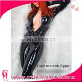 Sexy Lingerie Latex Black Leather Jumpsuit Sexy Costume Women Catsuit Clubwear Bodysuit