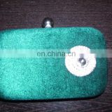SMALL BOX CLUTCH PURSE WITH ZIRCON BROOCH