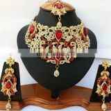 Voylla Intricate Gold Plated Indian Handmade Ethnic Kundan Zerconic Necklace set in Dark Red Color