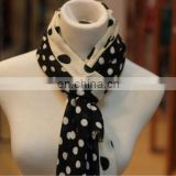 dot black wool scarf