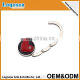 Round enamel heart with crystal souvenir bag hanger custom collapsible bag hook