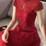 Chinese - style modified cheongsam red woman