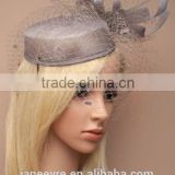Wholesale Elegant Veiling Fascinator Hat Sinamay Base With Feather For Wedding/chuch/Party/Races