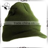 Knit cuffed watch cap visor beanie hat/knit beanie