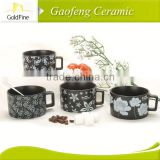 eco-friendly ceramic soup mug with love painting