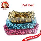 English Letter Patter Nylon Fabric Dog Bed, Cat Bed with Detachable Cushion