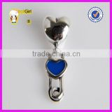 925 sterling Silver Paperclip Heart Charms antique Dangle Enamel Beads