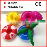 Coconut tree shape/flamingo shape/small yellow duck shape inflatable beach cup holder with single hole for promotional