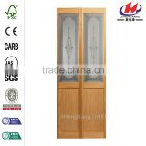 32 in. x 80 in. Baroque Decorative Glass Over Raised Panel Solid Core Unfinished Pine Interior Bi-fold Door