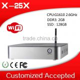 2014 lowest price home pc server x-25x G1610 dual core thin client 2g ram 128g ssd win8 embedded 1080p media player