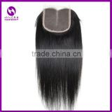 STOCK silky straight natural black color cheap free parting human hair lace closure bleached knots with 4x4inch folded edge