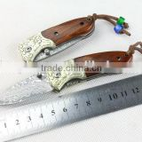 Custom Damascus knife mini folding knife with natural red sandal wood