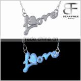 Unique Designs for Ladies LOVE letters Heart Glow in the Dark Pendant Necklace for Couples