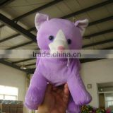 30cm promotional customzied stuffed violet plush cat animal shape handbag toy with handgrip