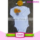 Custom design your own clothes applique floral long sleeve jumpsuit romper white cotton onesie baby                                                                                                         Supplier's Choice