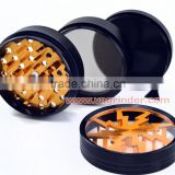wholesale industrial herb weed grinder , hot sale 4 part CNC aluminum herbal grinder with pollen screen