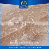 China suppliers eyelet embroidered wedding dress, taping embroidered mesh fabrics, dupion silk embroidered fabrics