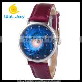 WJ-5461 personality vortex black hole face design popular girls leather student watch