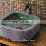 Handpainted ceramic art basin colorful countertop round sink porcelain flower edge bowl vanity top GD-F25