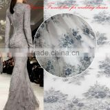 2016 Top sell fashion dubai french lace for wedding/french beaded tulle fabric for bride