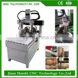 HS6090 low price automatic wood carving mini engraver machine 4 axis 3d cnc router with rotary axis