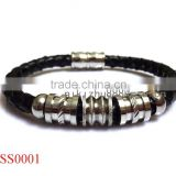 Guangzhou factory fashion bio magnetic stainless steel leather men's bracelet