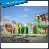 Inflatable zoo bouncer / animal cartoon inflatable obstacle bouncy for kindergarten