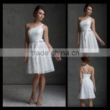 2013 Hot Selling One shoulder Short/mimi Belt Knee Bridesmaid Dresses