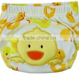 3 layer baby cloth nappy, lovely duck baby diaper, reusable baby nappy, cartoon embroidered training baby cloth nappy,