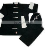 KUNG-FU - Uniform, Full black with white Cuf & Coler