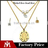 Factory Luxury Stainless Steel Religious Crystal Necklace Pearl Jewelry Set Gold Stud Earring fpr Women